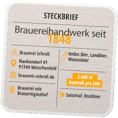 Steckbrief Brauerei Schroll Oberfranken