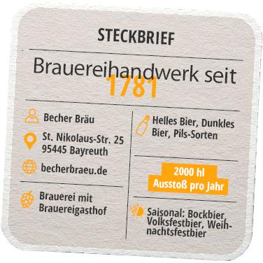 Steckbrief Becher Bräu Bayreuth