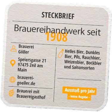 Steckbrief Brauerei Göller