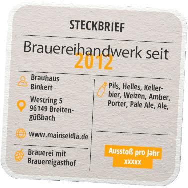 Steckbrief Brauhaus Binkert